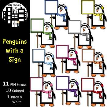 Penguins with a Sign Clip Art