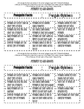 Penguns! By Gail Gibbons Fact OR Opinion Sort