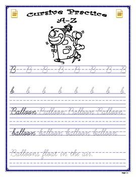 Penmanship - Cursive Practice A-Z Workbook
