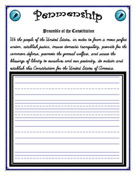 Penmenship - Cursive Practice - Preamble to the Constitution