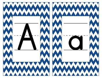 Penn State Inspired Blue & White Alphabet & Number Cards for Word Walls-Editable