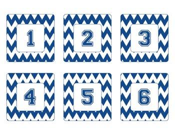 Penn State Inspired Blue and White Chevron Calendar Pieces-Editable