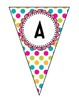 Pennant Banner {ALL Letters} Multi Colored Polka Dot