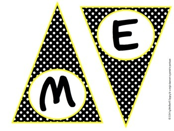 Pennant Banner - Black, White, and Yellow - {EDITABLE}