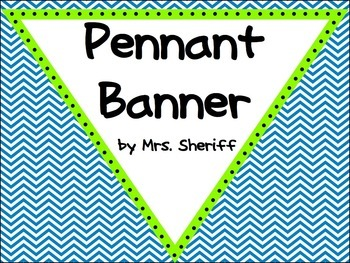 Pennant Banner - Blue Chevron with Lime - {EDITABLE}