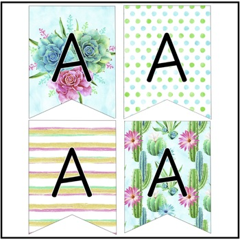 Pennant Banner Bulletin Letters - Cactus Succulent