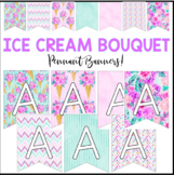 Pennant Banner Bulletin Letters - Ice Cream Tropical Floral