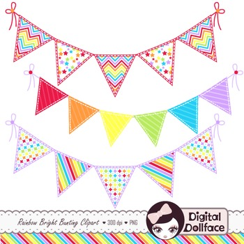 pennant banner clip art rainbow bunting clipart by digital dollface rh teacherspayteachers com pennant clipart black and white pennant clip art free