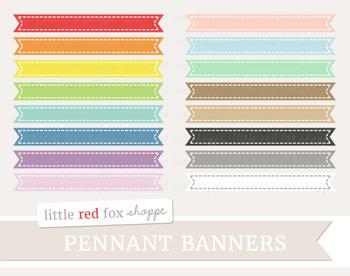 Pennant Banner Clipart; Frame, Label, Border, Flag