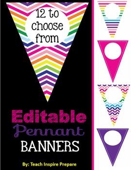 Pennant Banner Editable Multicolor