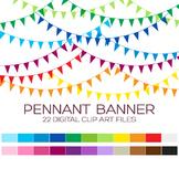 Pennant Banner Flags Clipart - 22 digital banner flags / 3x1.5 inches - A00004