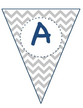 Pennant Banner- Gray Chevron with Navy Accent
