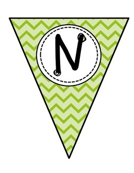 Pennant Banner Letters {Green Chevron}