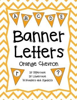 Pennant Banner Letters {Orange Chevron}