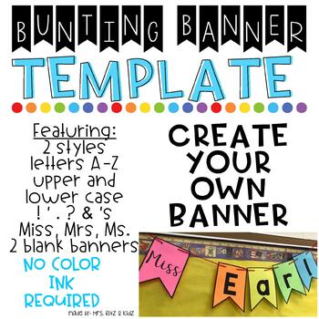 bunting banner template by teaching ln style teachers pay teachers