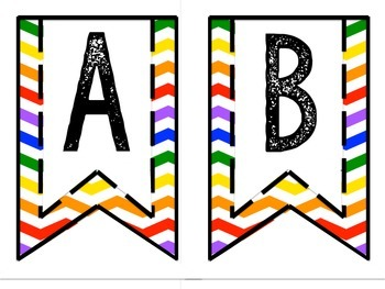 Pennant Banner Word Wall Headers Primary Chevron Edition