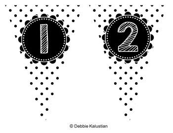 Pennant Banners - Blackline Polka Dots