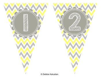 Pennant Banners Gray and Yellow Chevron Set