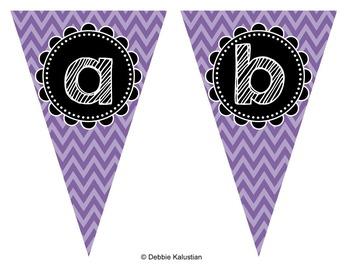 Pennant Banners Purple Chevron Set