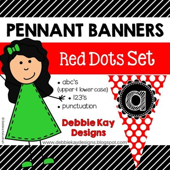 Pennant Banners Red Dots Set