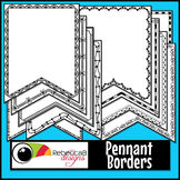 Pennant Doodle Borders Clip Art (Set 1)