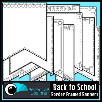 Back to School Pennant Doodle Borders
