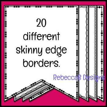 Pennant Doodle Borders Clip Art (Skinny Set 1)