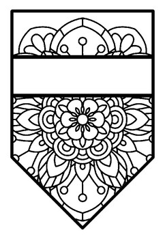 Pennant Bulletin Board Name Banner, Mandala Style 1, Pattern Coloring