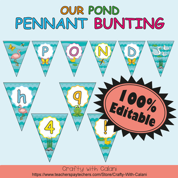 Pennant Bunting Classroom Decoration in Our Pond Theme - 100% Editable