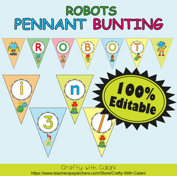 Pennant Bunting Classroom Decoration in Robot Theme - 100% Editable