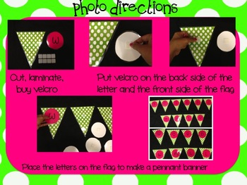 Pennant Flag Banner- hot pink and green
