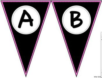 Pennant Letters BLACK and PINK