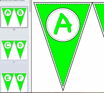 Pennant Letters BRIGHT GREEN