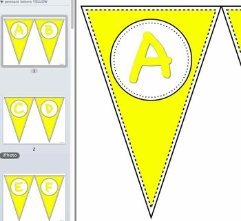 Pennant Letters YELLOW