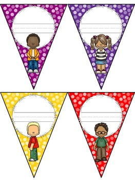 Pennant Locker Tags ~Polka Dots ~ Editable