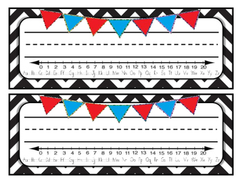 Pennant Name Tags with B/W Chevron