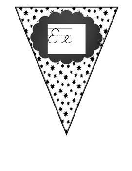Pennant Style Black and White Cursive Alphabet