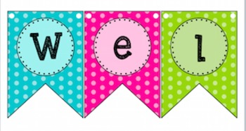Pennant Subject Banner and Matching Labels- 2 sizes, Polka Dot