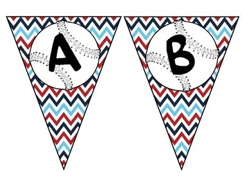 Pennant with baseball alphabet and a red, white, and blue