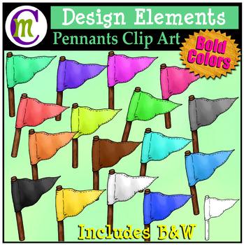 Pennants Clip Art Bold