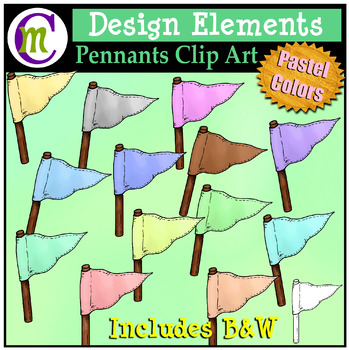 Pennants Clip Art Pastel