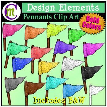 Pennants Clip Art   Design Elements Pattern 1 Bold CM