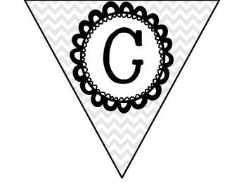 Pennants - Gray & White Chevron