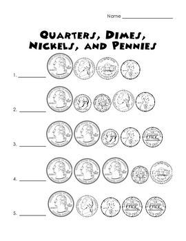 pennies nickels dimes and quarters worksheet by perfectly primary printables. Black Bedroom Furniture Sets. Home Design Ideas