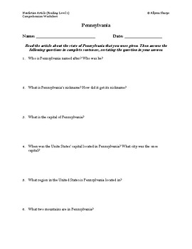 Pennsylvania Article (Reading Level 1) Comprehension Worksheet