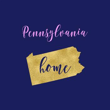 Pennsylvania Clipart, USA State Clipart, Pennsylvania Home, Gold US Clipart