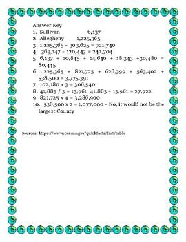 Pennsylvania Data Analysis and Math Word Problems on Population of Pennsylvania