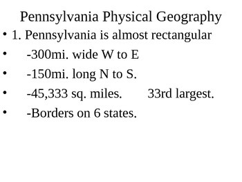 Pennsylvania History: Physical Geography