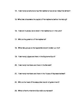 Pennsylvania History Test: PA Government