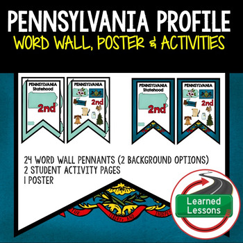 Pennsylvania History Word Wall, State Profile, Activity Pages